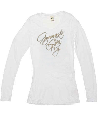 Gold Gymnast Can Fly White Long Sleeve Burnout Tee