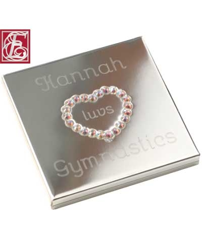 Engraved Luvs Gymnastics Gemstone Heart Mirror