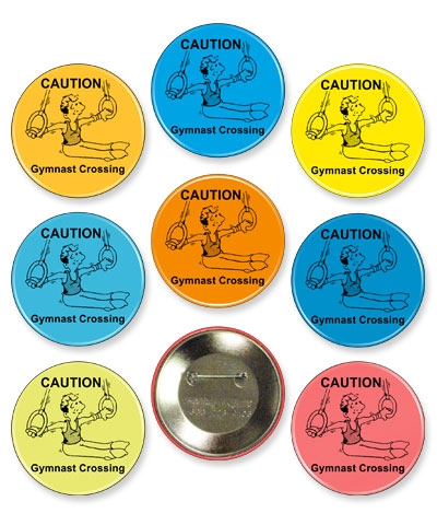 """Gymnast Crossing"" Gymnastics Designed Button Pin"