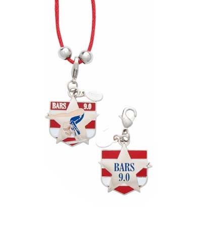 9.0 Bars Charm & Cord Necklace