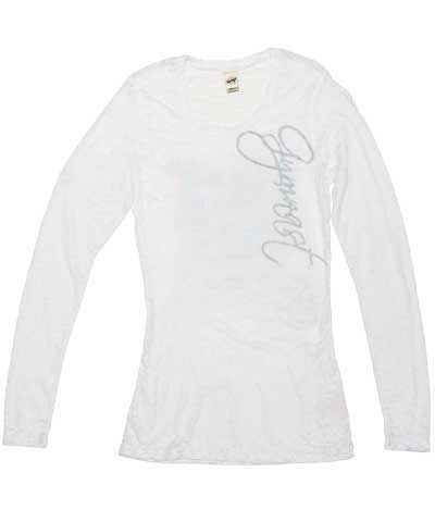 Silver Gymnast White Long Sleeve Burnout Tee