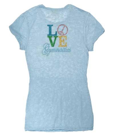 LOVE AND PEACE Glitter Burnout Tee-Light Blue FREE SHIPPING