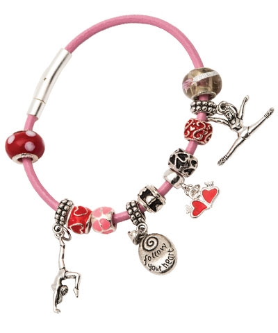Follow Your Heart Love Gymnastics Charm Bracelet FREE SHIPPING