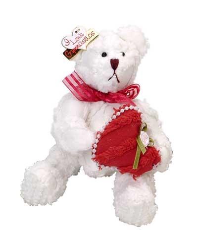 White Chenille Valentines Bear