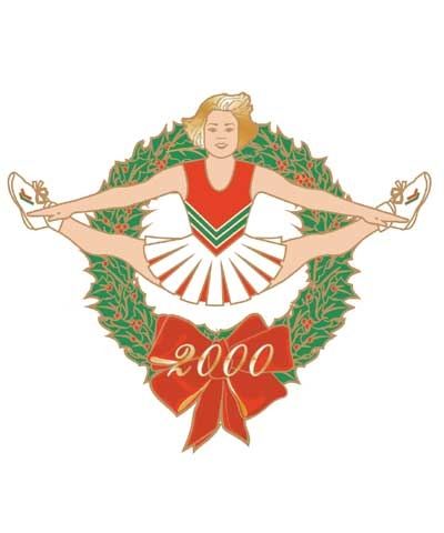 Cheerleader Christmas Toe Touch Pin