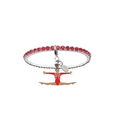 Ruby Red Rhinestone Bracelet with Straddle Jump Charm FREE SHIPPING
