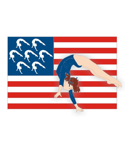 Back Handspring USA Flag Pin