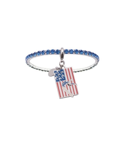 Royal Blue Rhinestone Bracelet with Handspring Flag Charm