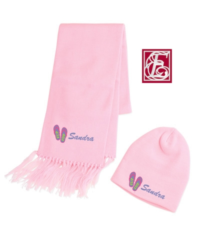 Personalized Pink Scarf & Beanie Set