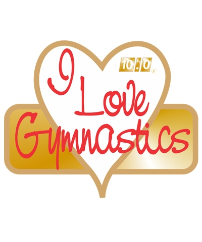 """White """"I Love Gymnastics"""" Pin"""